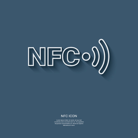 nfc: Nfc technology icon, button. Modern flat design symbol or sign for wireless payments online. Eps10 vector illustration. Illustration