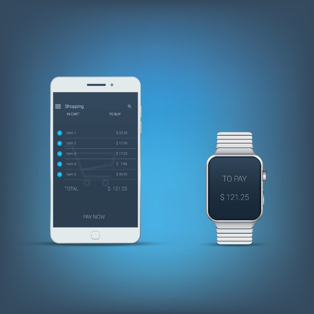 nfc: Mobile payment concept user interface with smartphone and smartwatch. Nfc technology symbols. Modern technologies devices. Eps10 vector illustration