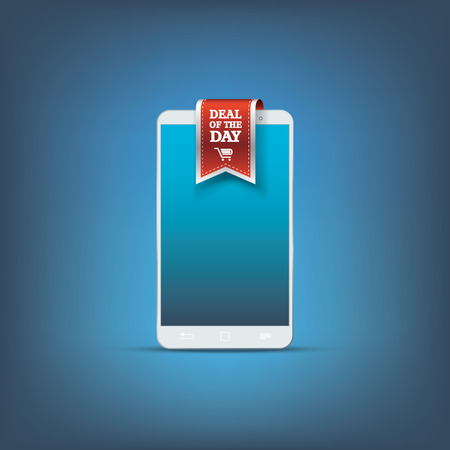 Smartphone sale concept design. Mobile phone with ribbon element for advertisement on e-shops. Eps10 vector illustration. Vector