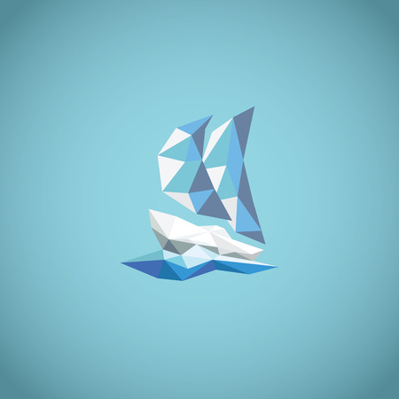 yacht: Low polygonal yacht symbol on blue background with waves. Modern abstract concept for holiday.