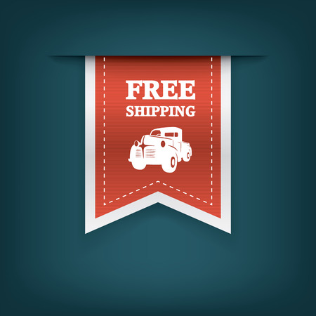 pick up truck: Vertical ribbon bookmarks, tags, stickers for free shipping or delivery. E-shop website elements. Advertising sales.