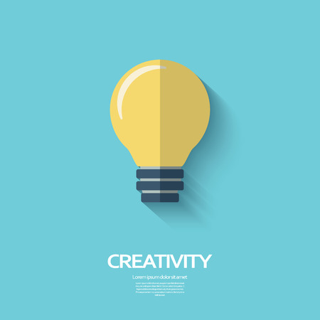 creativity concept: Light bulb creativity symbol in modern flat design with long shadow. Business concept background.