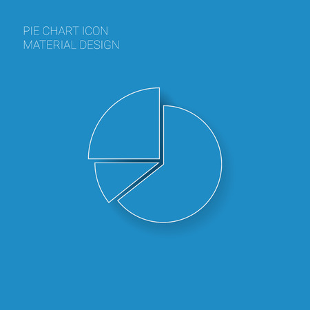 blue and white: Pie chart infographic element in modern material flat design with long shadows suitable for presentations, reports, etc.