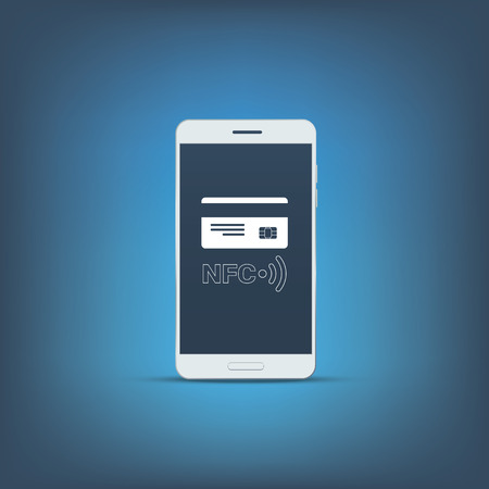 nfc: NFC technology symbol with credit card on smartphone screen. Mobile payment concept marketing. Illustration