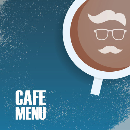 Hipster cafeteria menu template, vintage style with grunge background. Picture of a mustache and glasses man in cup.