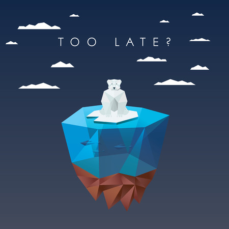 snow: Low polygonal polar bear sitting on ice floating island. Ecological background in modern poly design. Illustration