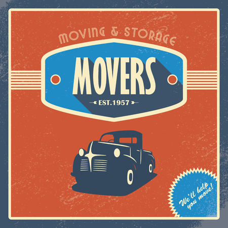 Moving company vintage background template. Old retro pickup truck as a symbol of transport and shipping. Vector