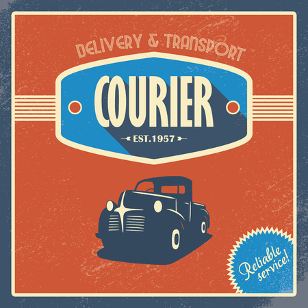 pickup: Delivery courier company vintage background template. Old retro pickup truck as a symbol of transport and shipping.
