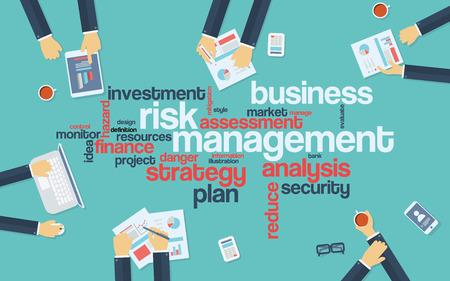 piso: La gestión del riesgo cartel infografía con los empresarios que trabajan en torno a la nube de la palabra. Análisis y planificación de palabras clave. Objetos de oficina Vectores