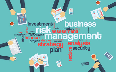 Risk management infographics poster with businessmen working around the word cloud. Analysis and planning keywords. Office objects Иллюстрация