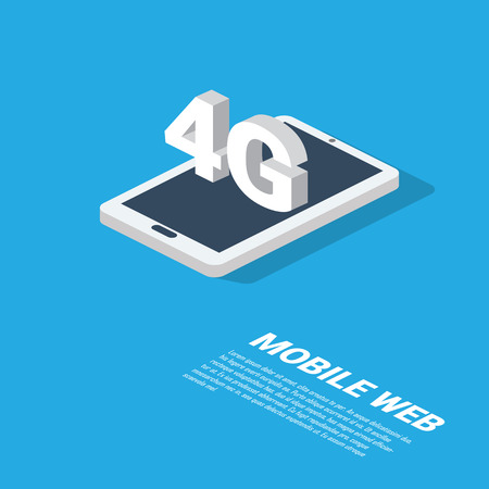 web technology: 4g mobile web technology presentation. Modern isometric smartphone design with space for text. Illustration