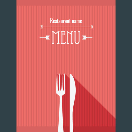 Hipster restaurant menu template in vintage style with long shadows.