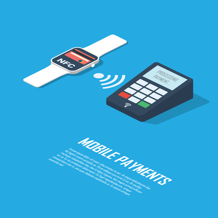 nfc: Mobile payments concept infographics presentation. Smartwatch with nfc technology making wireless contactless transactions.