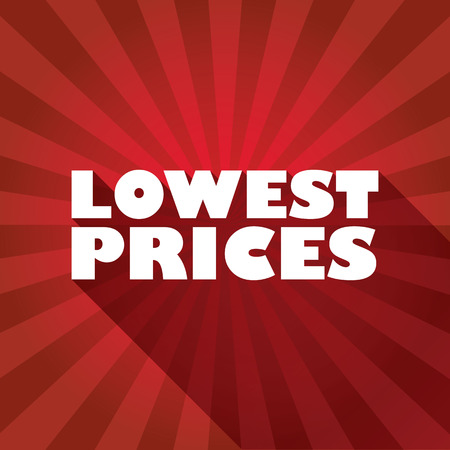 lowest: Sale discounts poster or flyer,  white text on red background. Modern design with long shadows for advertisement.