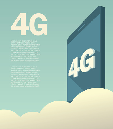 high technology: 4G high speed mobile data technology for smartphones. Promotional poster or banner with text layout.