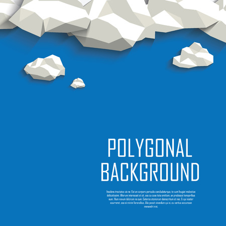 Clouds in the sky polygonal background. Low poly abstract concept with blank space for your text.