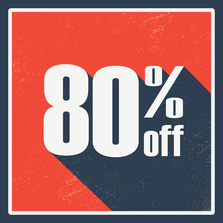 amount: Percentage sales label with amount of discount. Vintage graphic design, long shadow. Red background. Illustration
