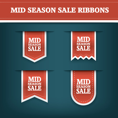 eshop: Mid season sale ribbon elements for online shopping and your products. E-shop icon bookmark with text.