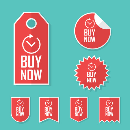 promotional offer: Buy now stickers. Limited time offer tags for sales. Promotional advertising elements collection. Illustration