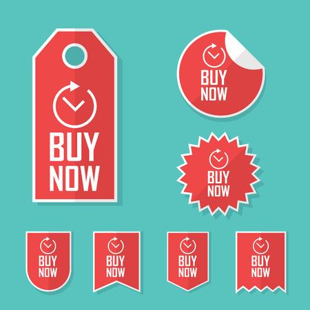 Koop nu stickers. Tijdelijke aanbieding tags voor verkoop. Promotionele reclame elementen collectie. Stock Illustratie