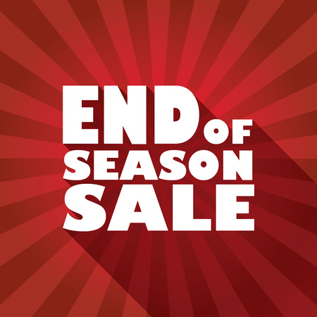 seasons: End of season sales poster with bold typography text and long shadow effect. Sun rays in the background. Advertising promotional flyer.