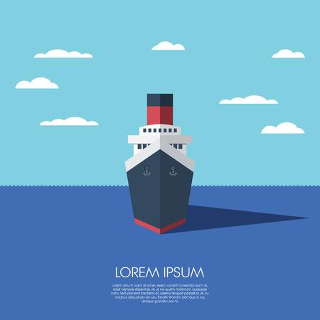 planos: Cruise vacaciones de vacaciones barco. Diseño plano bajo el modelo poligonal moderna de un barco. Vectores