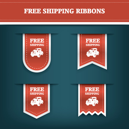 Vertical ribbon bookmarks, tags, stickers for free shipping or delivery. E-shop website elements. Advertising sales.