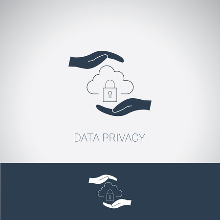 Data privacy symbol. Cloud computing protection and security. Modern flat design. Illustration