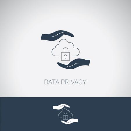 privacidad: símbolo de privacidad de datos. Nube de la protección y la seguridad del sistema informático. Moderno diseño plano.