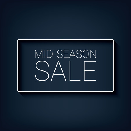 simple frame: Mid season sale simple banner with white frame and text. Modern flat design, long shadow. Illustration
