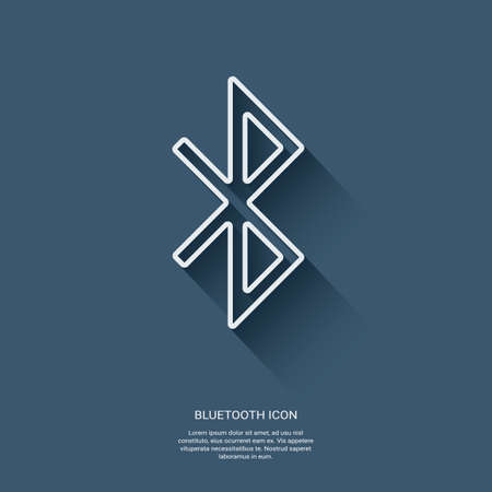 bluetooth: Bluetooth symbol icon. Modern material flat design with long shadow. Mobile phone network data transfer.
