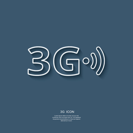 3g: 3g sign icon. Fast internet connection for mobile phones. Modern material flat design with long shadow.