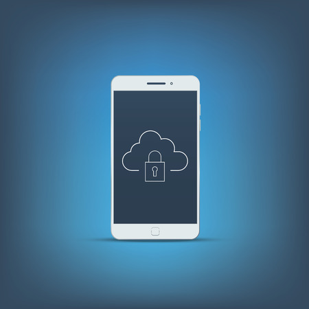 encryption icon: Smartphone data protection icon concept illustration. Privacy sign or symbol on mobile phone screen. Modern flat design.
