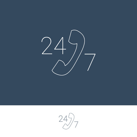 line material: 247 support and service for customers button. Modern material flat design, thin line icon. 24 hours, 7 days symbol.