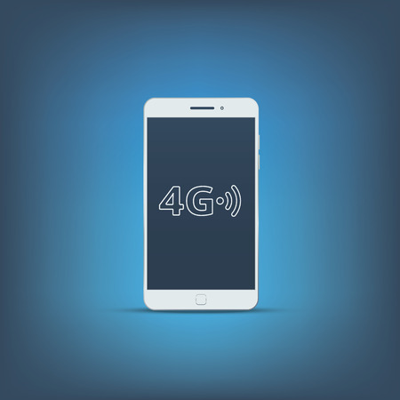 3g: 4g sign icon. Fast internet connection for mobile phones. Modern material flat design with long shadow.