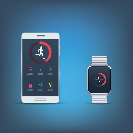 user interface: Fitness tracker application user interface kit. Set of icons for sport monitoring with smartphone or smartwatch. Boy man runner symbol. Illustration