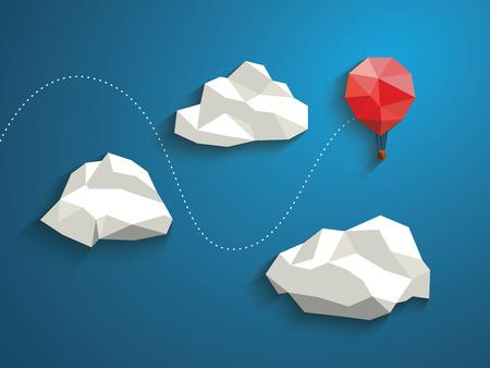 Bajo poli vuelo globo rojo entre las nubes poligonales en el cielo. Concepto de negocio para nuevos proyectos o de viaje.