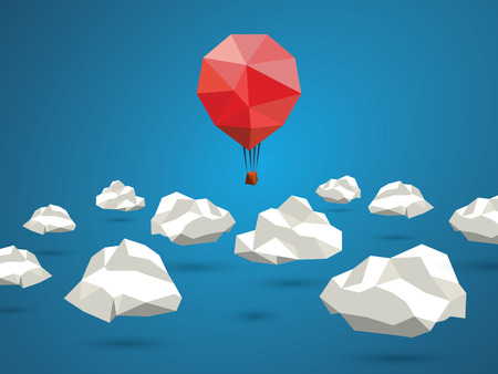 Low poly red balloon flying between polygonal clouds in the sky. Business concept for new projects or traveling.  vector illustration Vettoriali