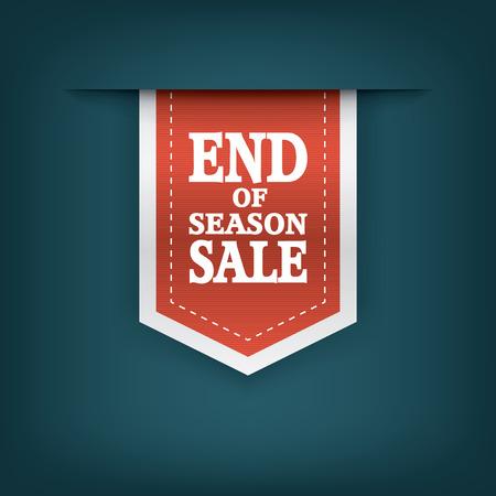 estaciones del año: Fin de elementos de la cinta de ventas de la temporada. Venta marcadores con texto para sitios web o correos tiendas. Publicidad pegatina promocional. ilustración vectorial.