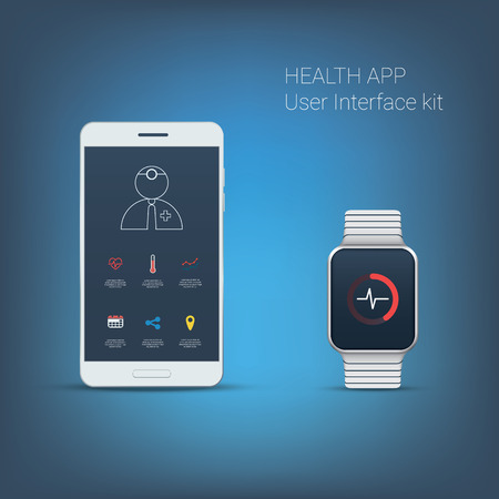 heart monitor: Health application user interface kit. Icons for smartphone and smartwatch. Heart beat monitor. Fitness tracker. Eps10 vector illustration.