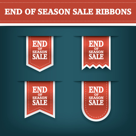 shopping mall: End season sale ribbon elements for online shopping and your products. E-shop icon bookmark with text.  vector illustration.