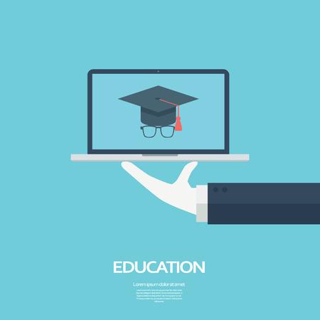 estudiar: Concepto de educación en línea. Icono de Estudiante en la computadora portátil. ilustración vectorial.
