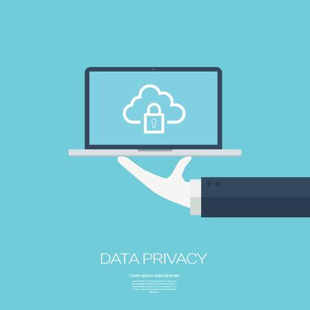 privacidad: Protección de datos en la tecnología de la computación en nube con iconos de dispositivos y aplicaciones para computadoras digitales. ilustración vectorial. Vectores