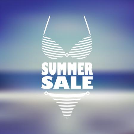 Venta de Verano cartel con bikini Mujer sexy y texto. Playa borrosa volante de fondo para promoción, publicidad. ilustración vectorial.