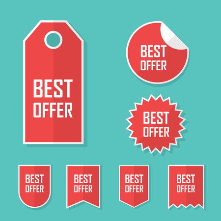 promotional offer: Best offer sale sticker. Modern flat design, red color tag. Advertising promotional price label. Eps10 vector illustration.