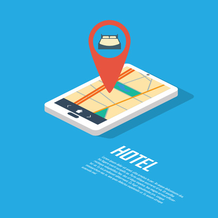 Hotel navigation point and pin. Smartphone gps technology for location of accommodation such as hostel or bed&breakfast. vector illustration.