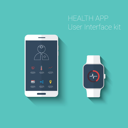 emergency medical: Health app graphic user interface. Medical fitness tracker application for smartphone and smartwatch in modern flat design with line icons.  vector illustration.