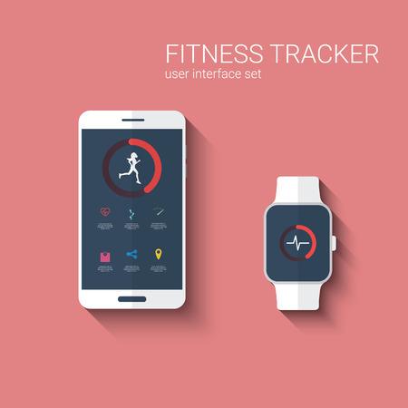 Interfaz gráfica de usuario de aplicaciones de seguimiento aptitud para SmartWatch y smartphone. Funcionamiento de la mujer símbolo con los iconos de la aplicación. ilustración vectorial. Foto de archivo - 41086757