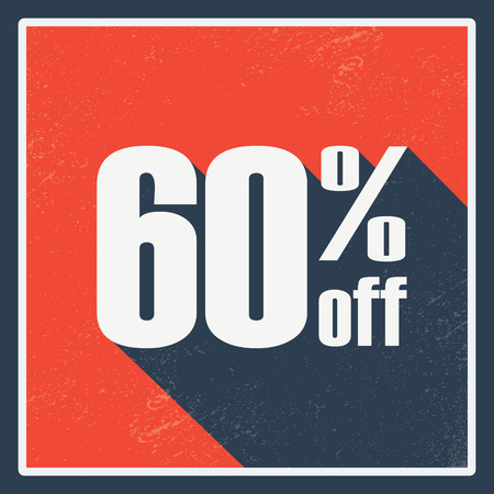 Percentage sales label with amount of discount. Vintage graphic design, long shadow. Red background.  vector illustration. Vector