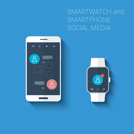 Smartphone and smartwatch social media networks user interface icons kit. Wearable technology concept in modern flat design. vector illustration Illustration